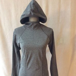Athleta Gray textured ribbed hoodie size med